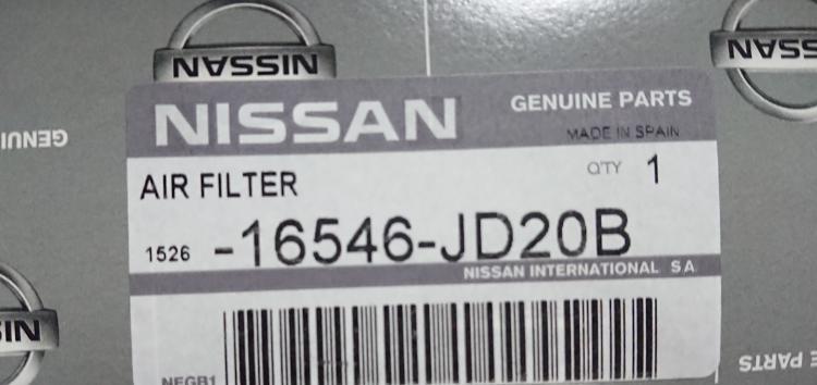 Підробні автозапчастини: фільтр повітряний Nissan 16546-JD20B