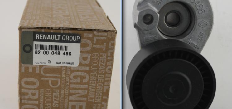 Підробні автозапчастини: натягувач ременя приводного Renault 82 00 048 486