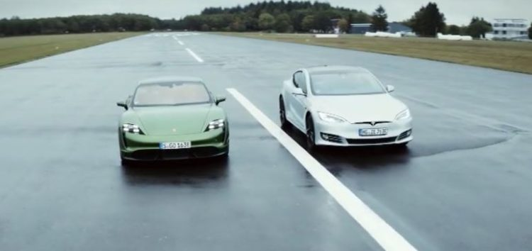 Tesla Model S P100D vs Porsche Taycan Turbo S (відео)