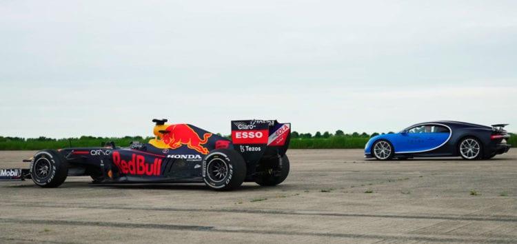 Показали гонку гіперкара Bugatti Chiron і боліда Формули-1 (відео)