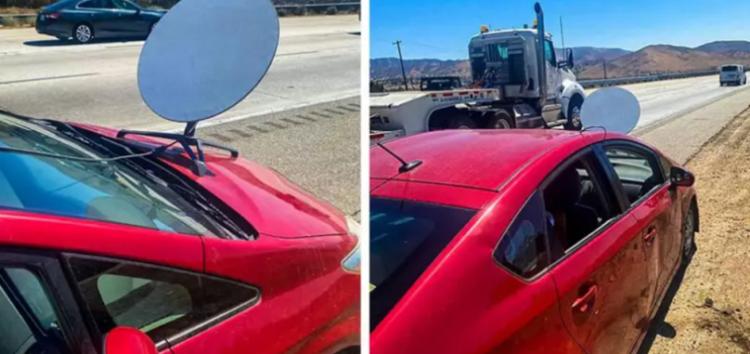 Водій поставив супутникову антену на автомобіль